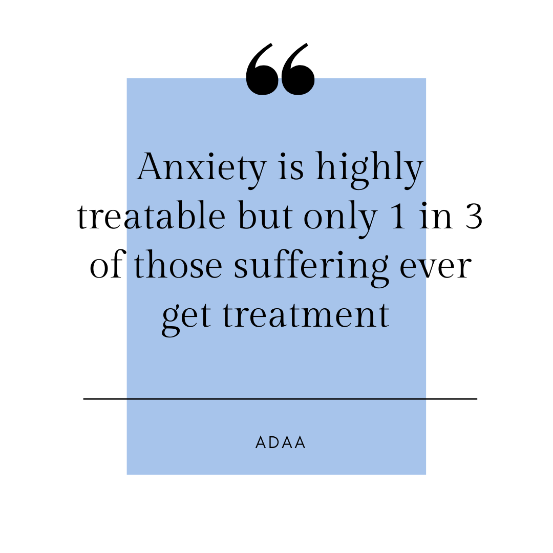 Quote - Anxiety is highly treatable but only 1 in 3 of those suffering ever counselling or therapy help