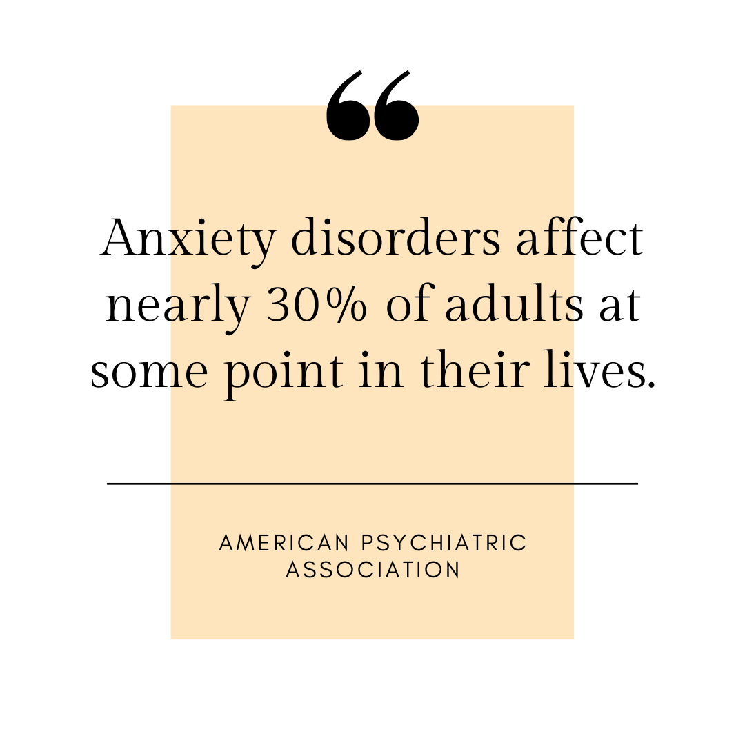 Anxiety Counselling - disorders affect nearly 30% of adults at some point in their lives - quote
